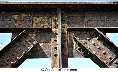 橋, 鉄道, -, リベットで留められる, 接合箇所