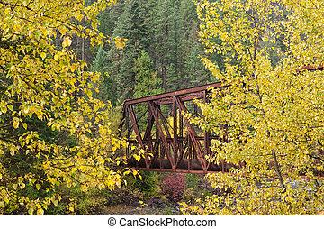 橋, ∥間に∥, 木。, 黄色