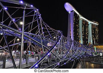橋, 2 月, 4:, シンガポール, -, 湾, リゾート, 4, 砂, helix, マリーナ, 新しい, 2011