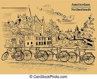 橋, bicycles, アムステルダム, ブラウン