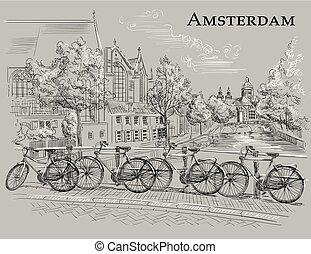 橋, bicycles, 灰色, アムステルダム