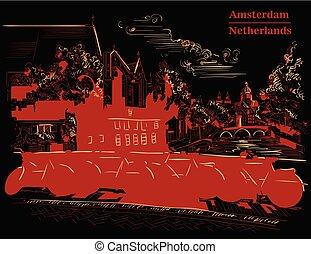 橋, bicycles, 黒い赤, アムステルダム