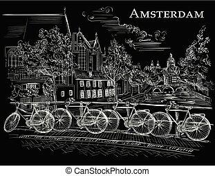 橋, bicycles, 黒, アムステルダム