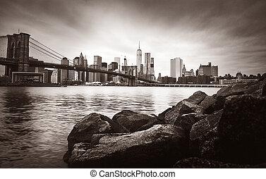 橋, brooklyn, スカイライン, マンハッタン