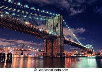 橋, brooklyn, ヨーク, 新しい, 都市