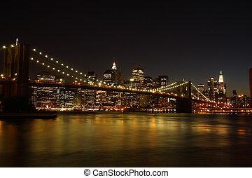 橋, brooklyn, 夜