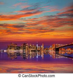 橋, brooklyn, 日没, ヨーク, 新しい, マンハッタン