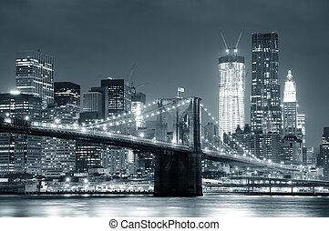 橋, brooklyn, 都市, ヨーク, 新しい