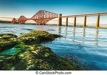 橋, firth, 前に, スコットランド, 海岸