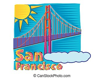 橋, francisco, 芸術, san, クリップ, 金色の門, clipart