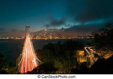 橋, francisco, san, 湾, スカイライン, 交通, 夜, 横切って