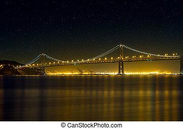 橋, francisco, san, 湾, 夜, oakland