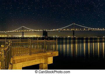 橋, francisco, san, 湾, 夜, oakland, 桟橋