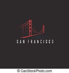 橋, francisco, san, 金, イラスト, ベクトル, デザイン, テンプレート, 門
