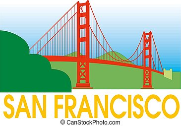 橋, francisco, san, 金, イラスト, 門, symbol.vector