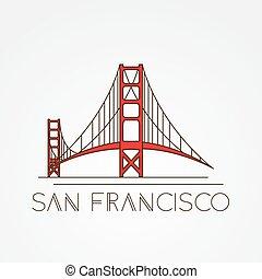 橋, francisco, san, 金, シンボル, 私達, -, 門