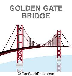 橋, francisco, san, 金, ベクトル, カリフォルニア, 門