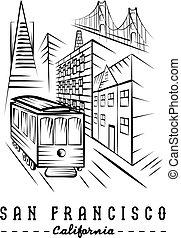 橋, francisco, san, 金, 市街電車, 門