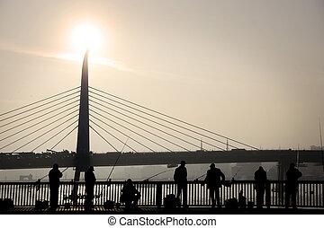 橋, galata, 釣り, 人々