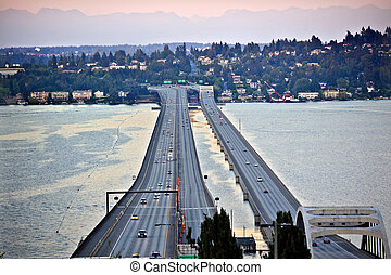橋, i-90, 山, 島, ワシントン, 太平洋, 州, 日没, 北西, 自動車, シアトル, mercer,...