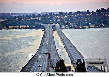 橋, i-90, 山, 島, ワシントン, 太平洋, 州, 日没, 北西, 自動車, シアトル, mercer, ...