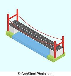 橋, isometric., 上に, ベクトル, 川, 3d
