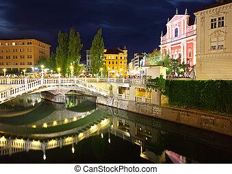 橋, ljubljana, franciscan, スロベニア, 3倍になりなさい, 教会, 夜