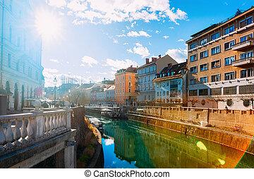 橋, ljubljanica, 日没, 3倍になりなさい, ljubljana, 川