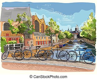 橋, netherlands, カラフルである, 上に, bicycles, アムステルダム, 運河
