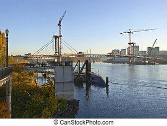 橋, or., 建設, 新しい, ポートランド, 光景
