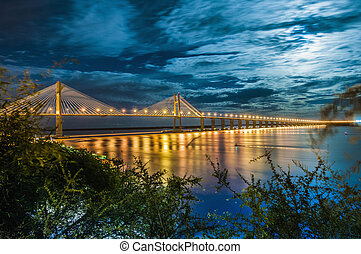 橋, rosario-victoria, 川, アルゼンチン, 横切って, parana