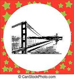橋, san, アメリカ, 金, 隔離された, イラスト, ベクトル, 黒い背景, francisco, 門, 白, 8-bit, カリフォルニア