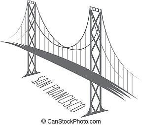 橋, san, francisco - oakland, イラスト, 湾, ベクトル