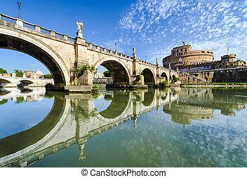 橋, sant, ローマ, 城, angelo