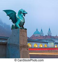 橋, (zmajski, most), slovenia., ドラゴン, ljubljana