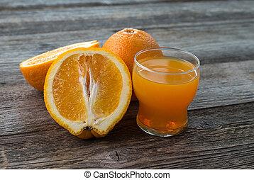 橙, 以及, 玻璃, ......的, 汁, 上, 桌子