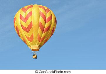 橙, 以及, 黃色, 熱的空氣汽球