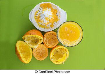 橙, 汁, 被擠壓, 新鮮, 玻璃