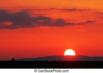 橙, -, 紅色日落, 在上方, horizont