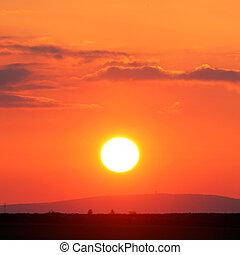 橙, -, 紅色日落, 太陽, 由于, 天空