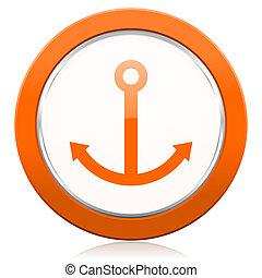 橙, 航行, 錨, 圖象, 簽署
