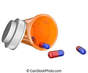 橙, 規定藥, 瓶子, 藥丸, 膠囊