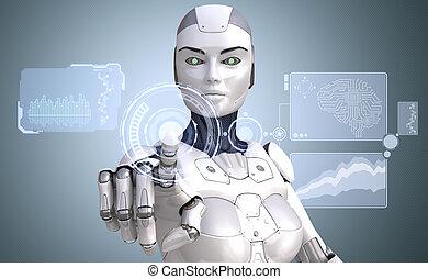 機器人, 是, 工作, 由于, 高科技, touchscreen