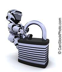 機器人, 由于, 挂鎖