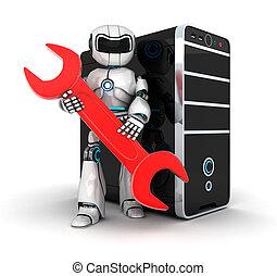 機器人, 鑰匙, 紅色