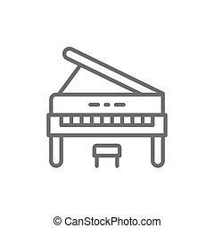 機器音楽, ピアノ, 垂直部分, 線, icon.