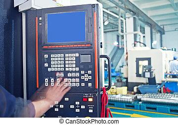 機器, 工人, 工具, cnc, 操作