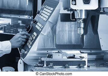 機器, 銑軋, cnc, 抽象的場景