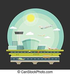機場, 由于, 飛機, 或者, 飛机, 在, 套間, 設計, style., 運輸, 空中旅行, 概念, 背景