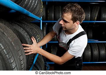 機械工, タイヤ, サービス, 自動車, 若い, 選択